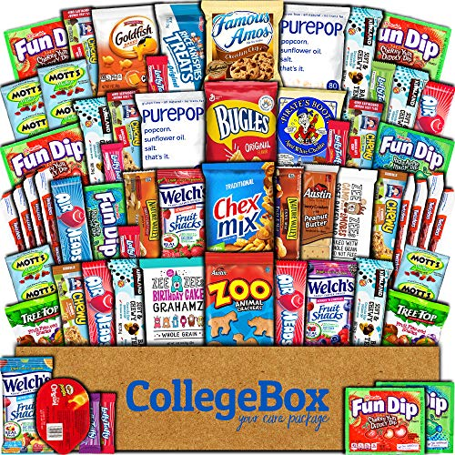 College Box Care Package (60 Count) Snacks Cookies Bars Chips Candy Ultimate Variety Gift Box Pack Assortment Basket Bundle Mixed Sampler Treats College Students Office Final Exams Valentines Day