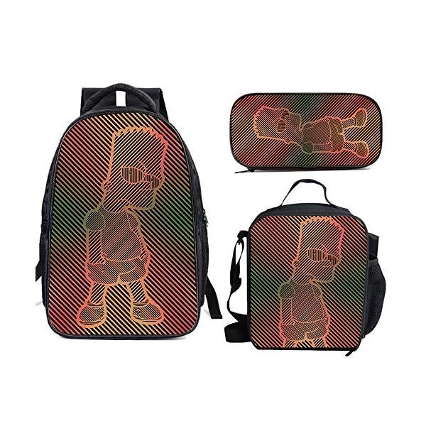 615giffDY6L. SS600  - The Si-mps-ons - Juego de mochila escolar con bolsas de almuerzo y estuche ligero para viaje para niños y niñas