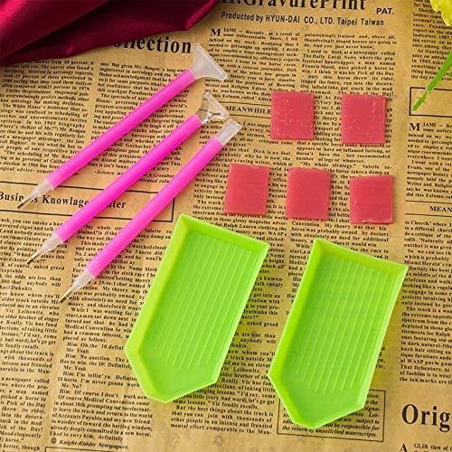 Kit de herramientas para cuadro de diamantes 5D, kit de herramientas de mosaico, bandeja de pegamento, kit de bolígrafo