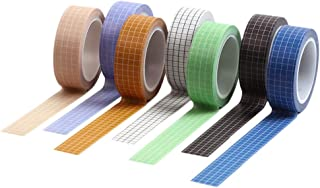 Baoblaze 7 Rolls Grid Printed Washi Masking Tape Set, 15mm Wide Colorful Rainbow Tape, Decorative Writable Craft Tape for ...
