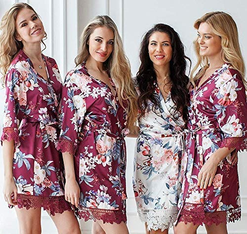 Amazon Com Floral Bridesmaid Robes Bridesmaid Gifts Silk Bridesmaid Robes Set Wedding Robe Bridal Party Gift Bridesmaid Robe Lace Trim Satin Robe Bridal Party Robes Kimono Lace Satin Robes Handmade