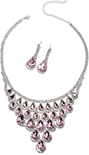 Pink Cubic Zirconia CZ White Crystal Silvertone Dangle Drop Earrings Bib Statement Necklace Bridal Jewelry Set for Women 18-20