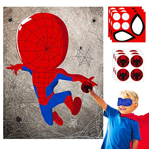 30pcs SpiderSuperHero Kids Party Stickers Game, Pin The Eyes Chest Signs and Spiderweb On Large SpiderSuperHero Poster Good for Big Superhero Birthday Party, Kid Room Wall Decor, Hero Party Favor