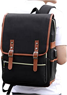 Laptop Backpack Daypack Fits 15.6 inch with USB Charging Port (Black)