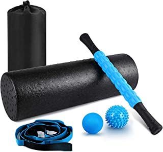 "KeShi Foam Roller Set, 18"" Muscle Foam Roller, 17"" Massage Roller Stick, Spiky Massage Ball, Solid Ball, and Stretching St..."