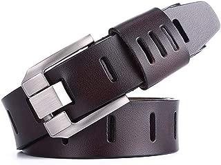 Men's Pin Buckle Leather Belts Fancy Vintage Jeans Business Waist Belt Long 115cm (Color : Coffee)