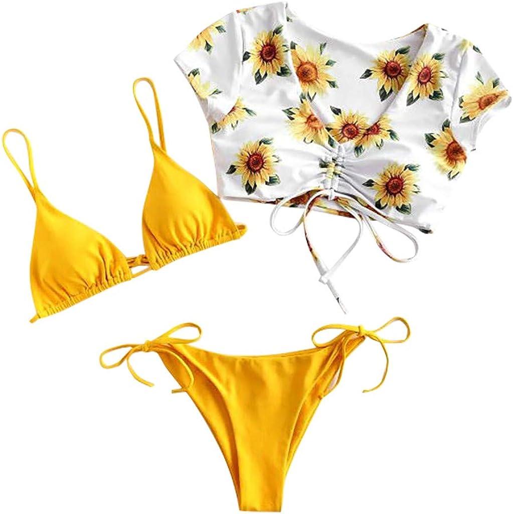 Leewa Women Swimsuit 3 Pieces Sunflower Ca Top Briefs Ranking TOP8 Max 69% OFF Bikini Set