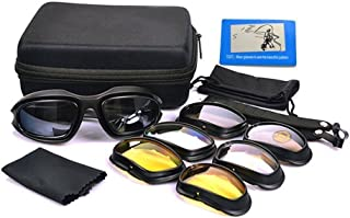 UIM-Shop Polarized Field Motorbike Driving Riding Ski Goggles Glasses -Padded Motorcycle Mirrors Set Black Frame with 4 pair of Lenses