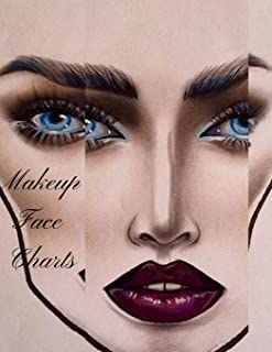 Makeup Face Charts: The Cute Professional Blank Paper Practice Face Chart For Makeup Artists