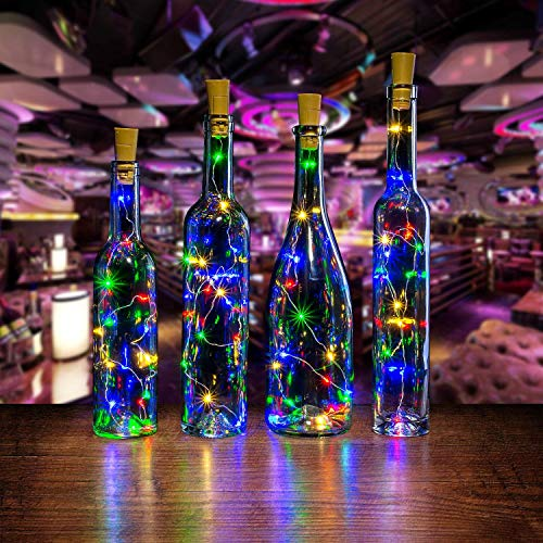 AGPTEK Bottle Led Lights,3PCS Bottle Mini String Lighting 30in Copper Wine Cork Shape Light Starry Light for Wedding/Party/Decoration - RGB Multi Color