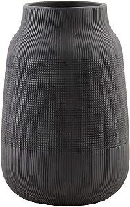 House Doctor - Vase - Blumenvase - Groove - Keramik - Schwarz Ø 15 cm Höhe 22 cm