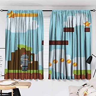 Video Games Sound Curtains Noise Reducing Retro Arcade World Kids 90s Fun Theme Knight with Sword Fireball Bonus Stars Coins Multicolor Curtains for Sliding Glass Door