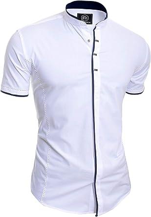 Hombre Camisa Elegante de Manga Corta Casual Cuello Alto broches Metal algodón