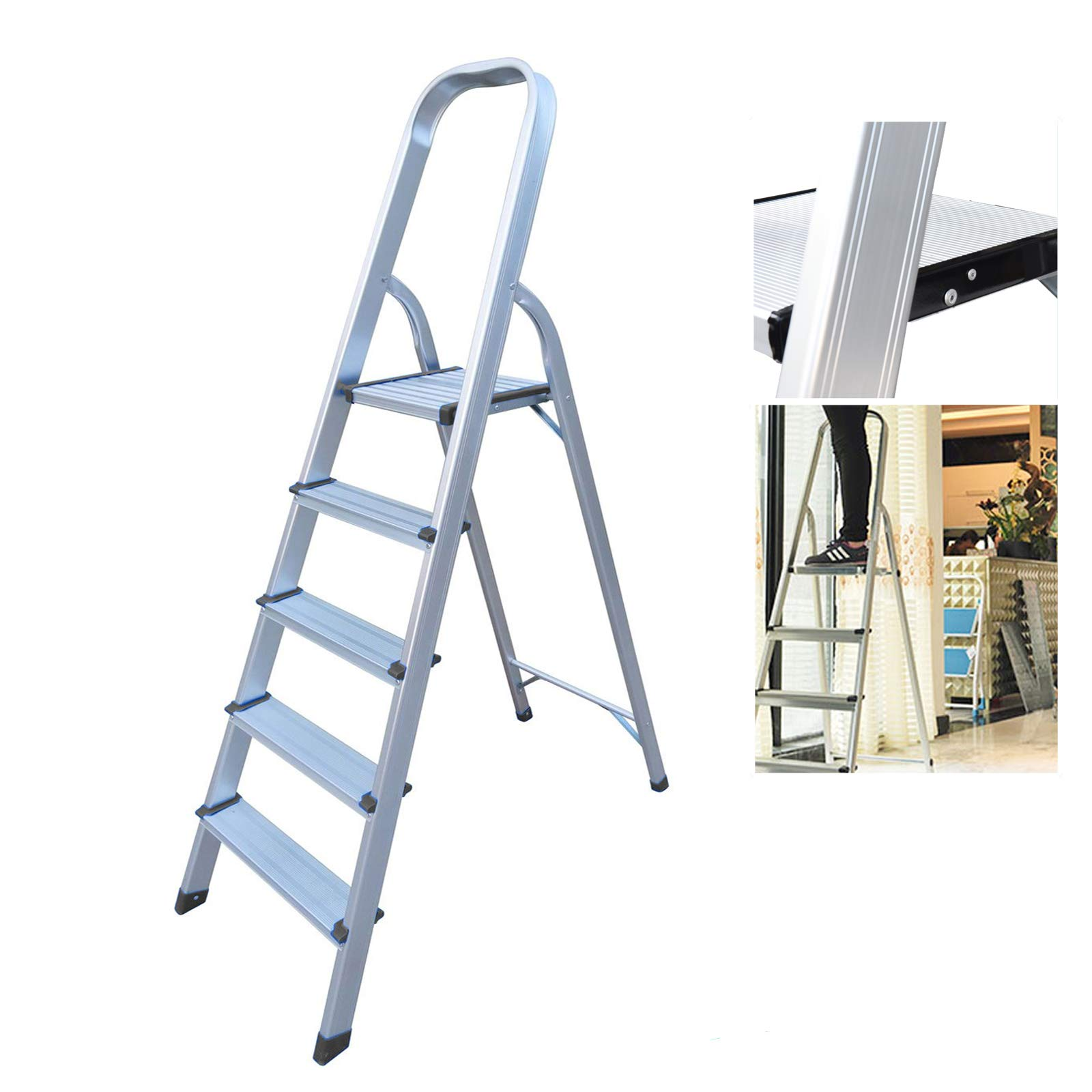 Escaleras de aluminio de 5 pasos, ligero y portátil, de seguridad antideslizante, plegable, con capacidad para hasta 150 kg: Amazon.es: Bricolaje y herramientas