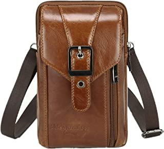 Langzu Genuine Leather Cell Phone Case Cellphone Bag Belt Waist Bag with Card Slot Keychain Carrying Cell Phone Case iPhon...