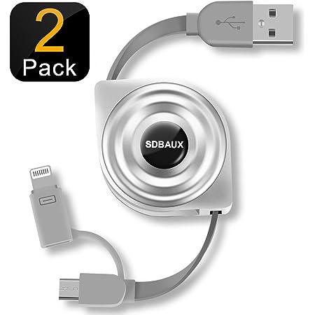SDBAUX 卷繞電纜卷軸式 閃電&Micro USB 2in1 USB充電 支持數據傳輸 iPhone XS/XS Max/XR/X/8/7/6/5s(2套)