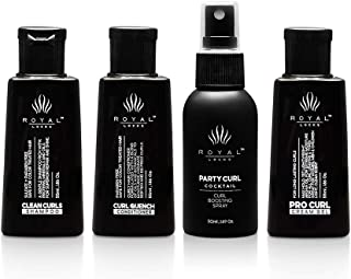 Royal Locks-Travel Size Curl Care & Styling Set, Curl Defining Cream, Curl Activator + Heat Protectant Spray, Shampoo & Co...