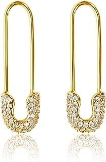 Benevolence LA Safety Pin Earrings for Women Cartilage Sterling 14k Gold Plated Hoop Earrings for Women