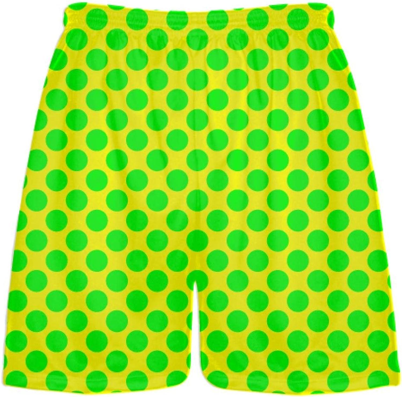 LightningWear Yellow Neon Green Polka Dot Shorts  Polka Dot Lacrosse Shorts  Athletic Shorts