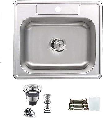 "ORLANDO 25x22 inch- Topmount 304 Stainless Steel Single Bowl Kitchen Sink 1- Hole Depth 8"","
