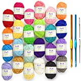 Mira Handcrafts 24 Acrylic Yarn Skeins | Total of 525 Yards Craft Yarn for Knitting and Crochet | Includes 2 Crochet Hooks, 2 Weaving Needles, 7 E-Books | DK Yarn | Perfect Beginner Kit