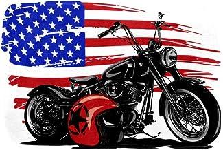 EGGDIOQ Doormats Motocycle and American Flag Custom Print Bathroom Mat Waterproof Fabric Kitchen Entrance Rug, 23.6 x 15.7in