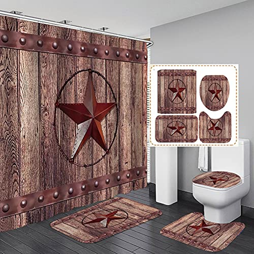 Jayden&Madge 4PCS/SET Western Texas Star on Rustic Barn Fabric Shower Curtain, Vintage Country Farmhouse Brown Wood Door Wooden Board Bathroom Decor, Non-slip Bathroom Mat Toilet Rug Bath Mat, Style 4