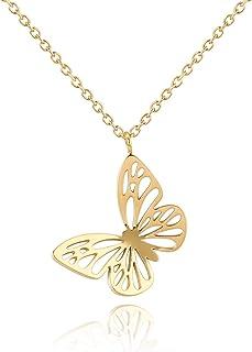 Edelstahl Glitzer Schmetterlinge Anhänger mit Kette Damen Halskette Roségold