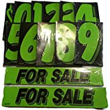 Vinyl Number & For Sale Decals 13 Dozen Car Lot Windshield Pricing Stickers (Black & Green)