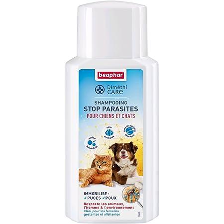 BEAPHAR – DIMÉTHICARE – Shampoing Stop Parasites à l'Aloe Vera pour chien et chat – Contre puces, tiques et poux – Sans pesticide et sans insecticide chimique – Action immédiate – Flacon 200 ml