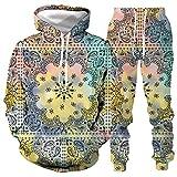 DREAMING-Chaqueta con capucha holgada con capucha para amantes 3d graffiti casual chaqueta de manga larga + pantalones ropa deportiva L