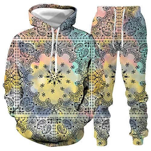 DREAMING-Chaqueta con capucha holgada con capucha para amantes 3d graffiti casual chaqueta de manga larga + pantalones ropa deportiva M