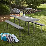 Cosco Outdoor Living 87902DGR1E Intellifit 6 ft. Folding Blow Mold Grain with Gray Legs Picnic Table, Dark Wood