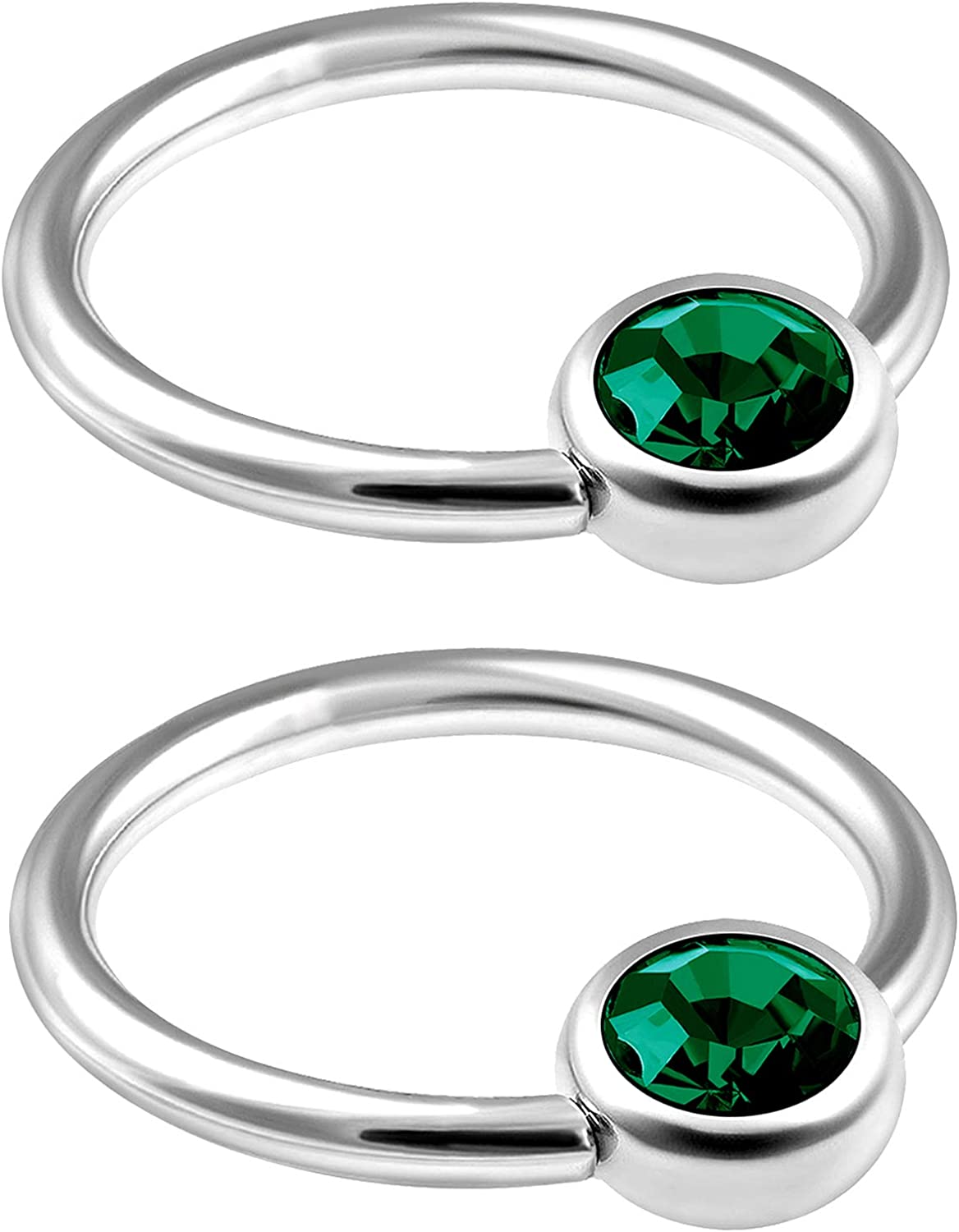 MATIGA 2Pcs Surgical Steel 16g Captive Ring Piercing Jewelry Tragus Nose Septum Eyebrow Cartilage 4mm Flat Crystal Ball More Choices