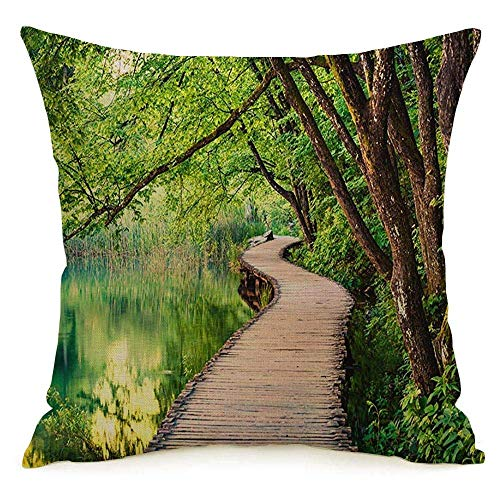 N\A Lino Decorativo Cuadrado Throw Pillow Cover Case Stream Pintoresco Morning River Plitvice Park Puente Popular Parques Naturales Outdoor Spring Design Funda de Almohada Cojín Sham for Couch