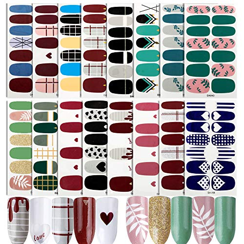 FLOFIA 16 Blatt Nagelsticker Selbstklebend Nagelfolie Nagelaufkleber Nagel Kunst Sticker Nail art Tattoos Nagel Abziehbilder D
