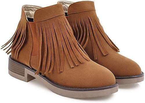 Sandalette-DEDE Cómodo Cuadrado con Stiefel de damen con Flecos Stiefel de damen borlas de Tubo bajo Stiefel de damen Salvaje