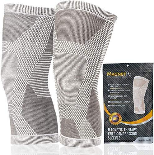 MagnetRX® Magnetische Kniebandage mit Kompression (2er Pack) - Magnettherapie Knie Bandage für Knieschmerzen & Regenerierung - Knie Stabilisator für Männer & Damen - Bandage Knie (Grau, XL)