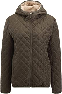 CCOOfhhc Womens Quilted Jacket,Winter Warm Fur Collar Hooded Bomber Jackets Zip Up Lightweight Parka Outwear