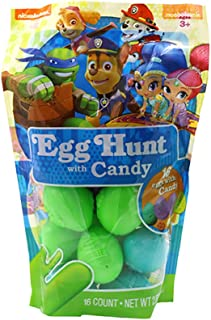 Easter Eggs | Nickelodeon Characters Paw Patrol Marshall Chase Rubble Skye Ninja Turtles Shimmer & Shine | 16 Gift Bagged Eggs Filled With Candy | Easter Hunt, Basket Stuffer & Filler, Party Decor
