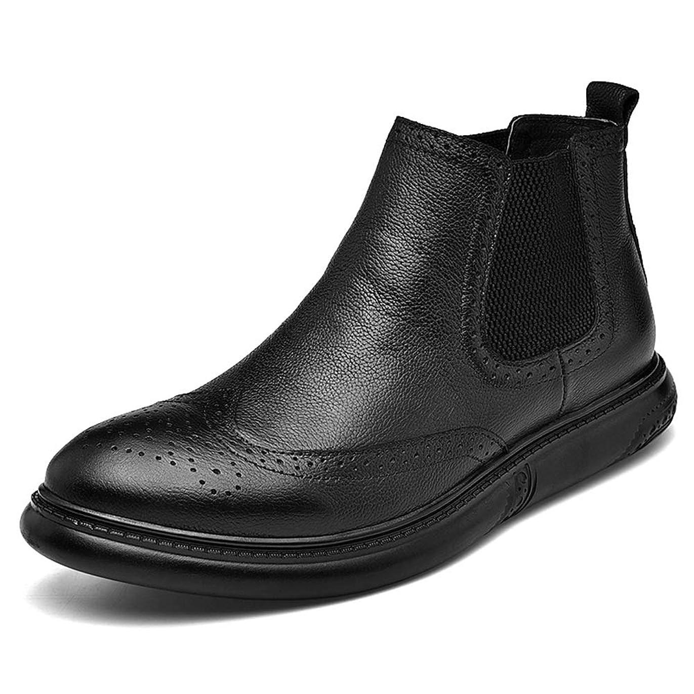映画噴水裸[CHENJUAN] 靴メンズファッションオックスフォードカジュアルチェルシーブーツ快適なフリース並ぶ靴