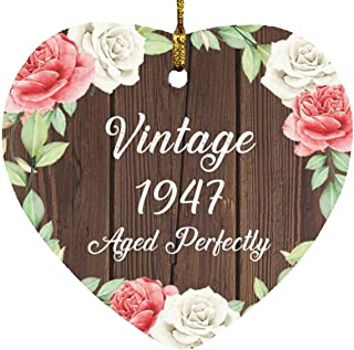 74th Birthday Vintage 1947 Aged Perfectly - Heart Wood Ornament A Christmas Tree Hanging Decor - for Friend Kid Daughter S...