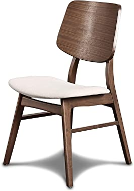 New Classic Furniture Mid-Century Modern Oscar Oval Back Dining Chair, Set Of Two, Walnut Brown