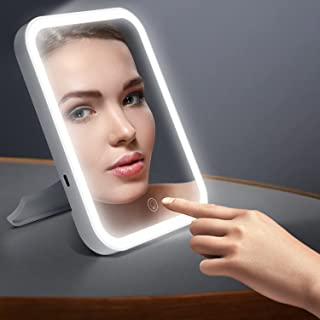 Makeup Mirror with Led Lights,Stand & USB Rechargeable & Touch Screen Dimmable and 3 Color Lighting Mode Lighted Vanity Mi...