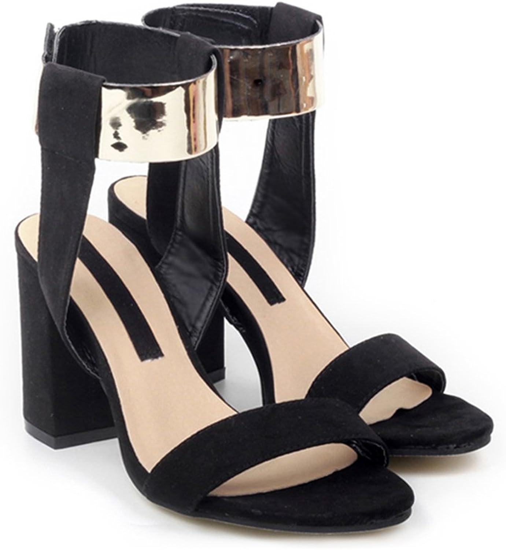 golden color Lace-up Thick Heel Sandals Women shoes black 40