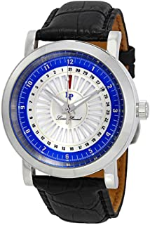 Lucien Piccard Men's 'Ruleta' Quartz Stainless Steel and Black Leather Casual Watch (Model: LP-40014-02S-BLC)