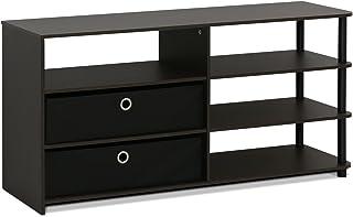 FURINNO Prosty design stojak na telewizor do 150 cm, drewno, orzech włoski/czarny, jeden rozmiar