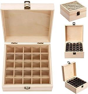 Hearthrousy Boîte de Rangement pour Huile Essentielle d'huile Organisateur avec Motif de Pin en Bois 25 Compartiments Déta...