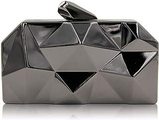 Clutch Handbag Metal Iron Box Cosmetic Bag Chain Gold Crossbody Bag Banquet Silver Shoulder Bags Dress Wallet Waterproof Pocket (17×3×10cm)