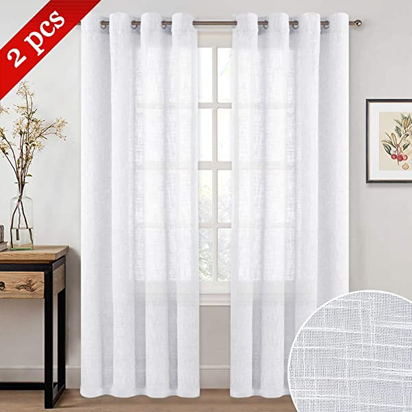 NICETOWN Sheer Curtains For Doors With Window Grommet Top Design Linen Textured Look Drapes For Bedroom Study Room Sliding Door 52 Inches X 84 Inches 2 Pack White
